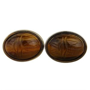 Men's Foster Gold Tigers Eye Scarab Stone Cuffs